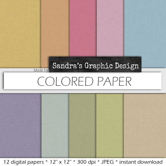 """Colored digital paper: """"COLORED PAPER"""" with colored paper backgrounds in various colors (404)"""