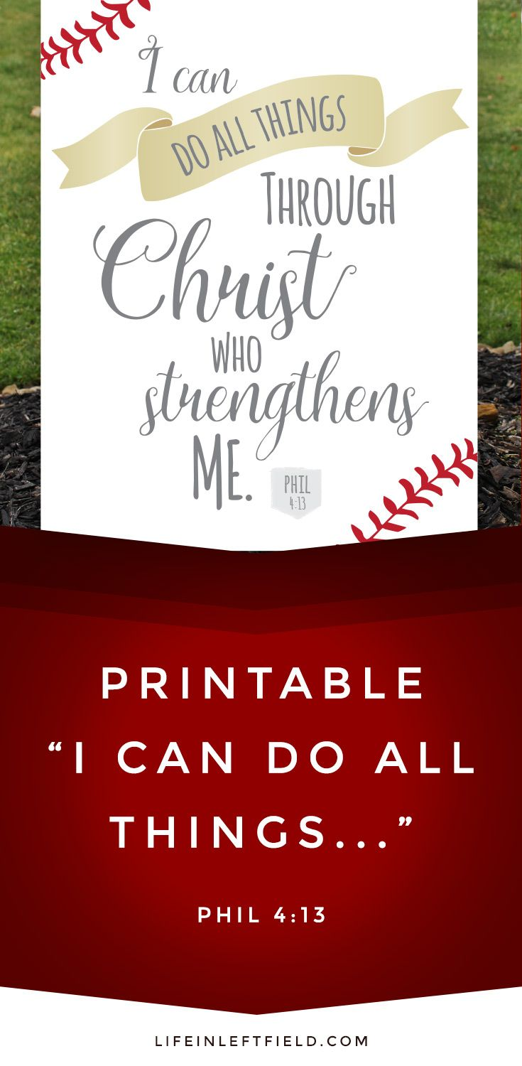 I can do all things through Chirst who strengthens me Quote / Baseball themed PRINTABLE / lifeinleftfield