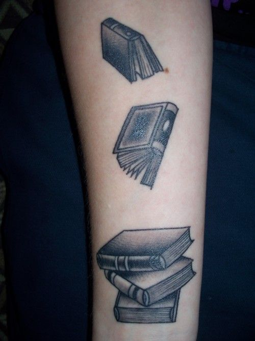Book tattoo (by Brett Burnham at Electric Tattoo in Pasadena, Maryland). ~~hh/