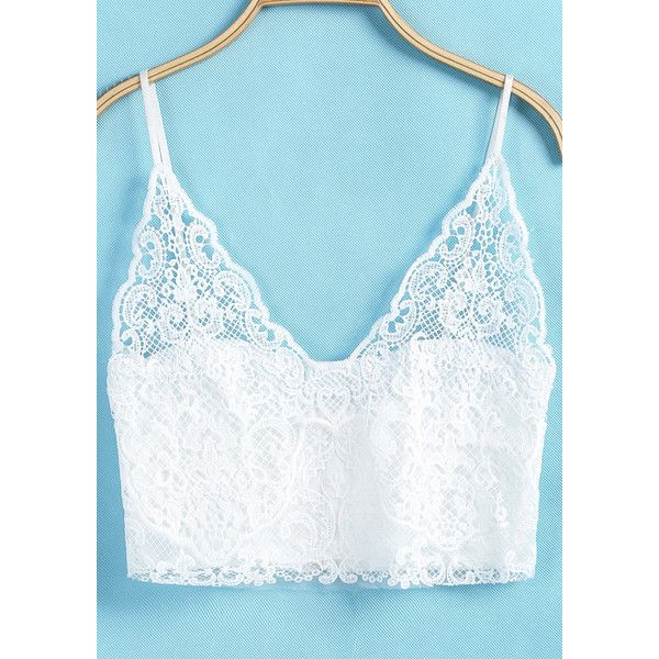 White Spaghetti Strap Lace Lingerie ($7.99) ❤ liked on Polyvore featuring intimates, white, white lace lingerie, lacy lingerie, white lingerie, lace lingerie and bralette lingerie