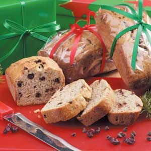 Cherry Banana Mini Loaves Recipe -This recipe has been passed down from my mom's mother. The addition of chocolate chips and dried cherries makes it stand out from ordinary banana bread. These are terrific gifts from the kitchen. —Diane Doll, West Bend, Wisconsin