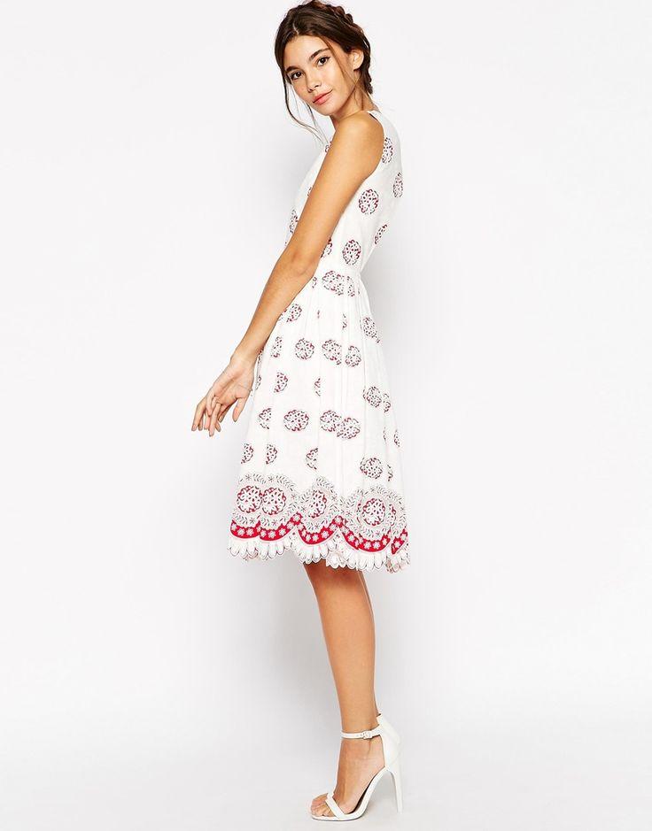 Image 4 ofASOS PETITE  Midi Dress in Broderie Anglaise