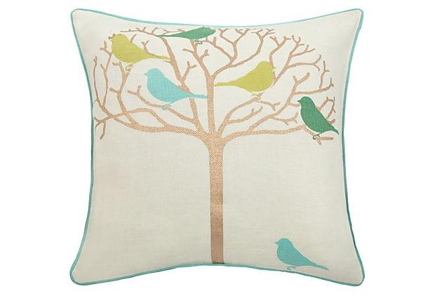 thomaspaul  Tweeter Gold Pillow, Green & Gold: Children Rooms, Tweeter Pillows, Linens Pillows, Thomas Paul, Aqua Linens, Birds Pillows, Paul Tweeter, Throw Pillows, Gold Pillows