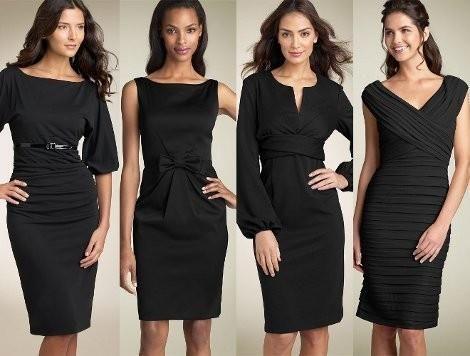 Маленькое черное платье с прямоугольным вырезом фото