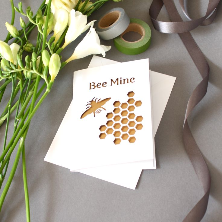 cheap0th wedding anniversary invitations%0A Laser Cut Bee Mine Card