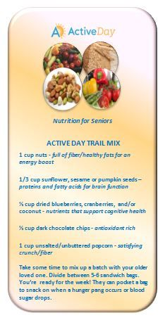 Seniors can suffer from a lack of appetite. Keeping snacks close by will counteract a hunger pang or a drop in blood sugar. In honor of National Trail Mix Day, Active Day/Senior Care Centers of America would like to share a recipe with essential proteins and fatty acids that support healthy, cognitive function