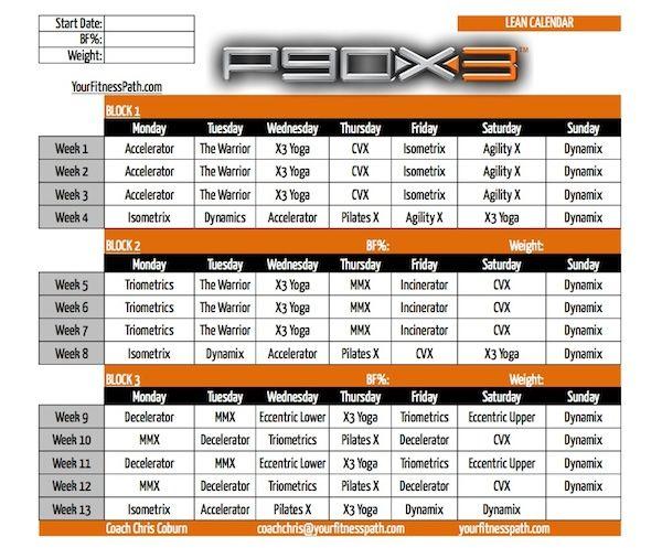P90X3 - Calendar Lean