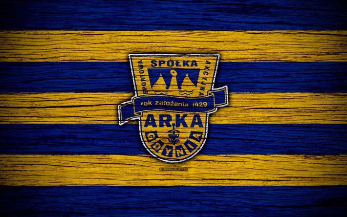 Download wallpapers Arka Gdynia, 4k, Ekstraklasa, wooden texture, football, Poland, Arka Gdynia FC, soccer, football club, FC Arka Gdynia
