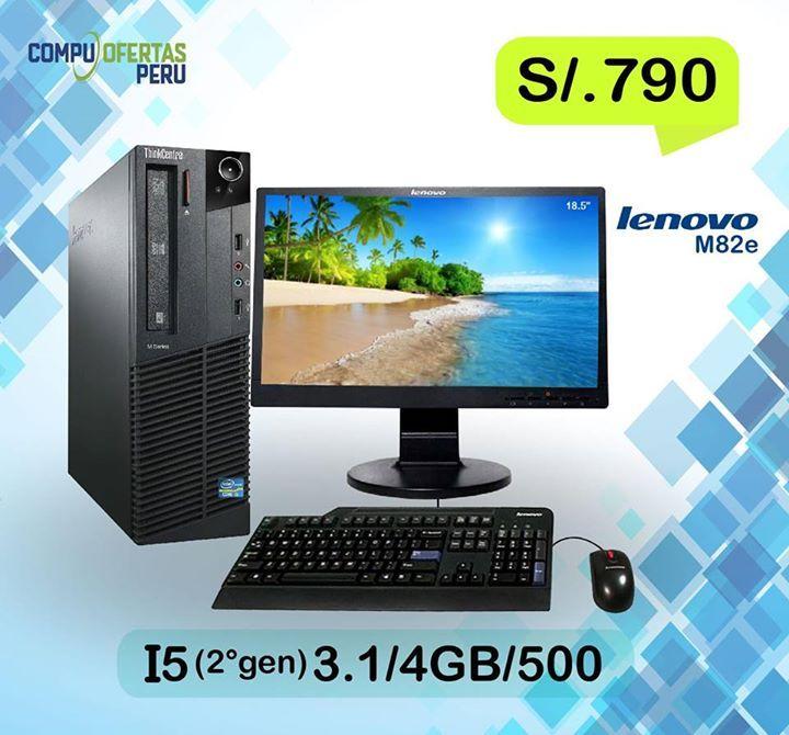 """LENOVO M82 Core I5 (2ºGen) + LCD Lenovo 18.5"""".....S/.790 ================================================= * Computadora Lenovo Core I5 2ºGeneracion Desktop * Procesador Intel 2400 Core i5 de 3.1 GHZ 4 Nucleos * Memoria RAM de 4GB DDR3 BUS 1600mhz * Disco Duro de 500 GB SATA 7200rppm  * Placa Intel Q75 Express Socket LGA1155 * Slot PCI Express 16x  * Video Integrado de 1.5GB Intel HD 2500 pro * 4 USB 3.0 Posteriores y 6 USB 2.0 * DVD Multigrabador RW+  * Entrada de Video VGA y PortDisplay…"""
