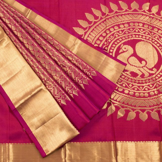 Ghanshyam Sarode Jazzberry Jam Red Handwoven Kanchipuram Silk Saree With Hamsa Motifs 10003487 - profile - AVISHYA.COM