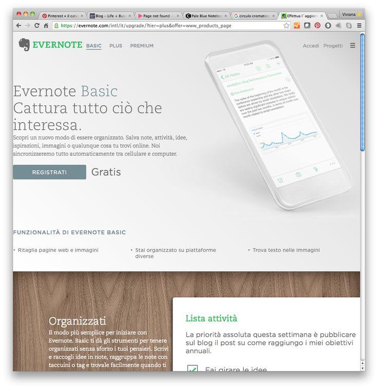 Evernote Basic (gratuito) Cattura tutto ciò che interessa. È un tool per l'organizzazione: salva note, attività, idee, ispirazioni, immagini o qualunque cosa si trovi online.