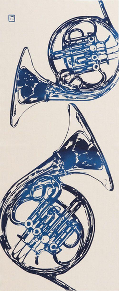 Japanese Tenugui Cotton Fabric, Horn, Musical Instrument, Orchestra, Brass Band, Gift Idea, Wall Decor,  Home Decor, Headband, Scarf, n022