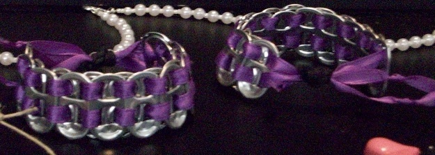 pop tab bracelets with purple ribbon. Adjustable bracelet.