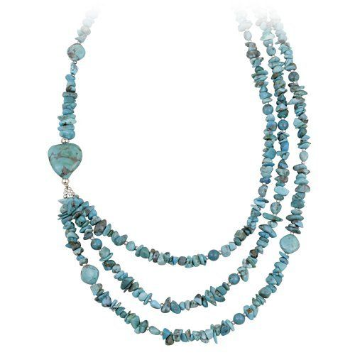 "Sterling Silver and Turquoise Nugget 3 Row Necklace, 20+3"" Extender Amazon Curated Collection. $50.00. Made in Thailand. The natural properties and composition of mined gemstones define the unique beauty of each piece. The image may show slight differences to the actual stone in color and texture."