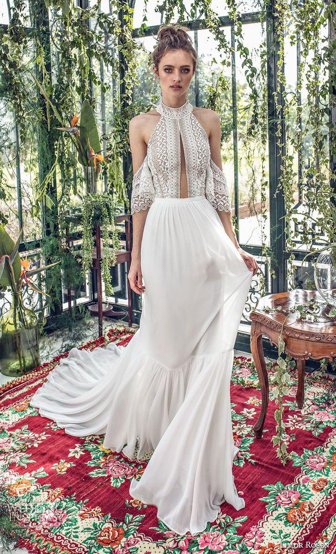 limor rosen 2019 xo bridal cold soulder halter jewel neck heavily embellished bo…