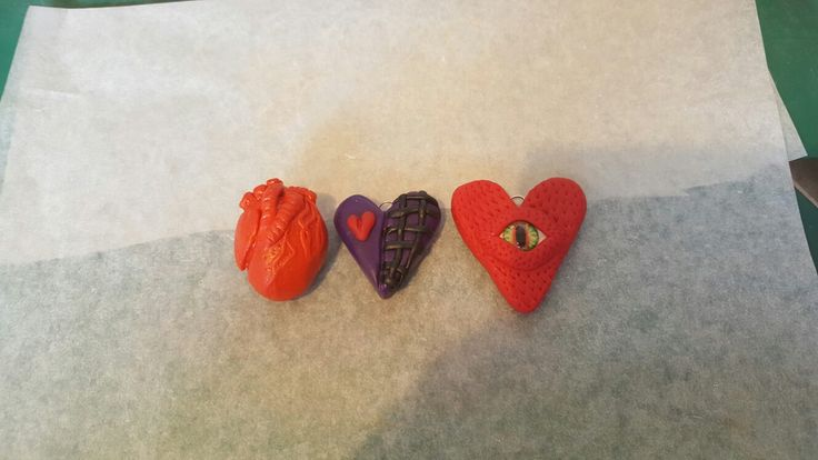 Different Hearts polymer clay