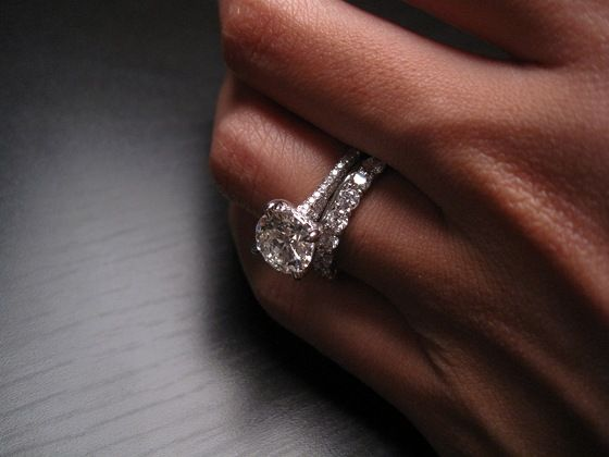 Thin engagement ring with thick wedding band.