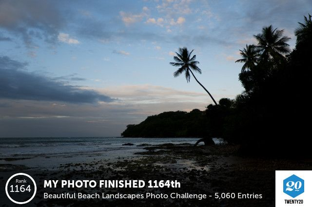 My photo finished 1164 out of 5061 in the Beautiful Beach Landscapes challenge!