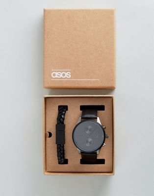 ASOS Gift Set with Watch & Bracelet in  Matte Black