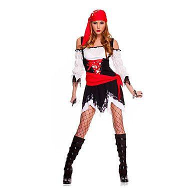 Cosplay Kostumer / Party-kostyme Pirat Halloween Kostumer Rød / Svart Blonder Skjørte / Belte / Hodeplagg Halloween Kvinnelig Terylene 5273982 2016 – kr.271