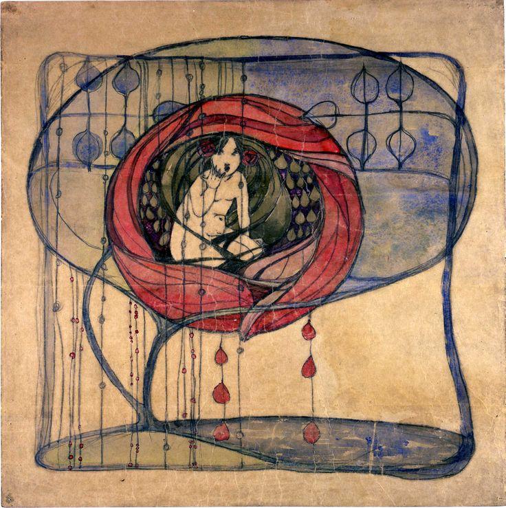 Frances Macdonald MacNair (1873-1921) - Textile/Embroidery Design - Girl in a Tree. Pencil & Watercolour on Paper. Glasgow, Scotland. Circa 1900-1905. 50.5cm x 50.6cm.