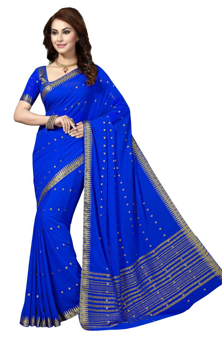 BLUE CHIFFON SAREE WITH WEAVING WORK