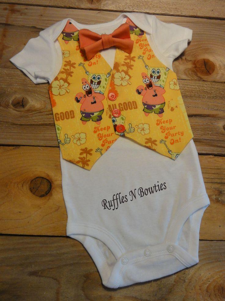 Spongebob Onesie baby Vest..Spongebob Square Pants Onesie Vest & Bow set..Babies Birthday..Photos..Cake smashers by RufflesNBowties on Etsy