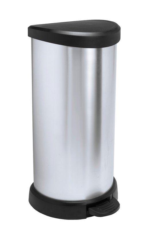Curver Decobin Pedaalemmer - 40 l - Zilver Metallic