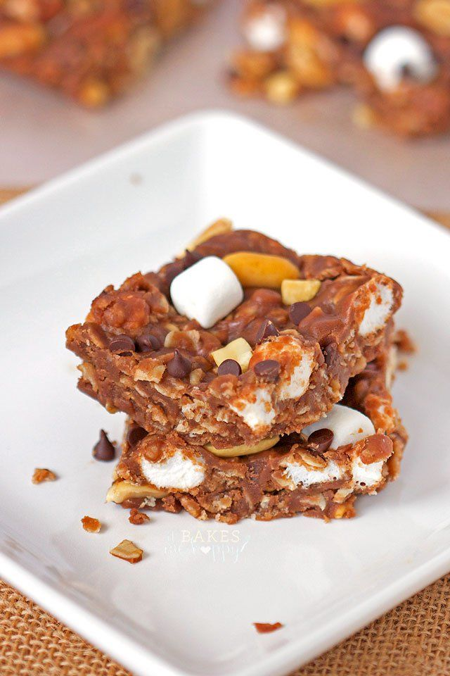 No Bake Rocky Road Squares are loaded with crunchy peanuts, soft mini ...