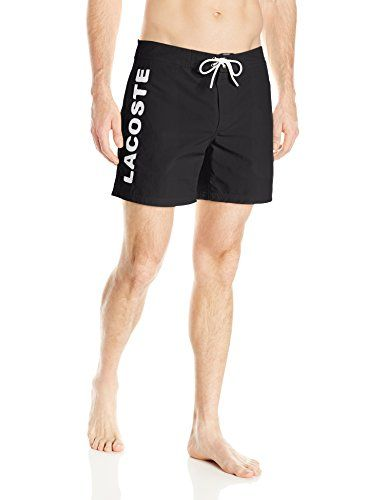 Lacoste Mens Poplin Board Short with Vertical Logo BlackWhite Large * Find out more by clicking the VISIT button