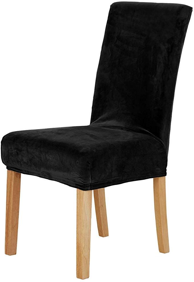Deconovo Luxury Soft Velvet Stretch Dining Chair Covers Short Dining Chair Protector Set Of 4 Black Review Dining Chair Covers Chair Covers Dining Chairs