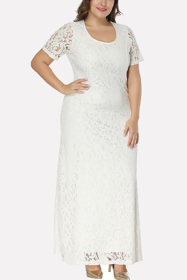 Women White Short Sleeve Cutout Back Casual Plus Size Lace Dress Xxl 2019 2020 Modasi 2019 Elbise Modelleri Ve Gelinlik