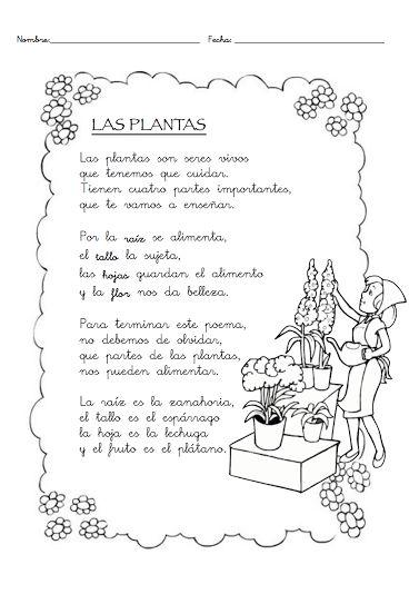Las plantas Este poema es fantástico para trabajar las partes comestibles de las plantas. A través de este poema vuestros niños podrán aprender mejor los conceptos como por ejemplo: la raíz de las plantas, el tallo, la flor... ¡Las plantas son muy importantes para nuestra supervivencia!