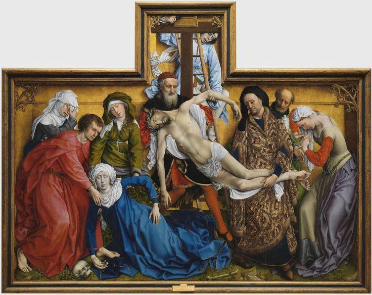 El Descendimiento Hacia 1435; Roger van der Weyden; óleo sobre tabla; 220 x 262 cm Museo del Prado  www.museodelprado.es/visita-el-museo/15-obras-maestras/ficha-obra/obra/el-descendimiento/