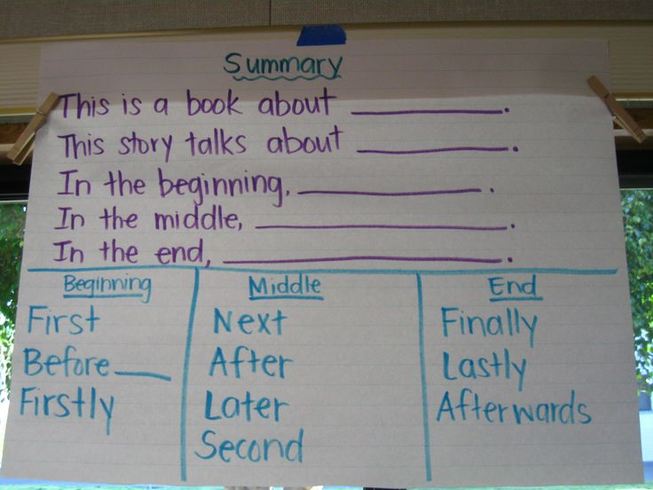 narrative summary sentence frames and transitional words