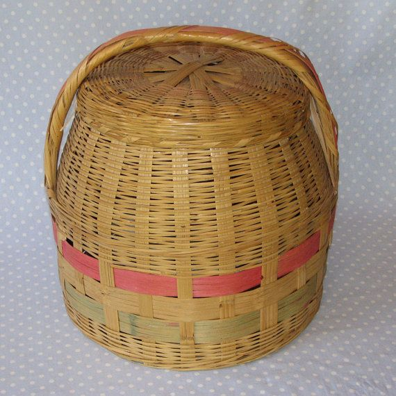 Knitting Basket Yarn : Vintage yarn sewing knitting basket storage with lid