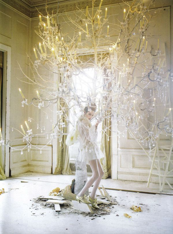 Tim Walker: Chandelier tree light. I think I would like my Christmas tree to look like this, this year.