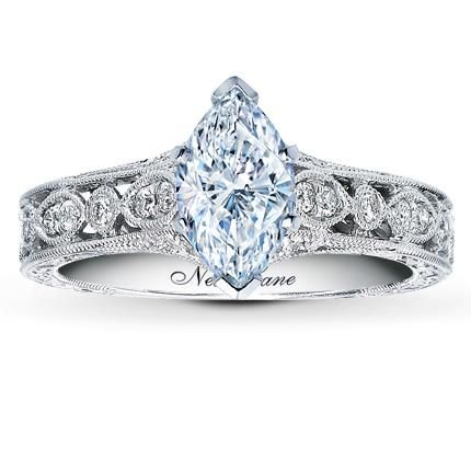 Marquise 0.40 Carat D SI2 Good Neil Lane Ring Setting 1/4 ct tw Diamonds 14K White Gold