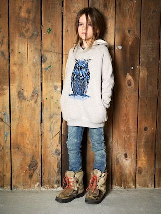 Children's wear Finger in The Nose AW11 owl hooded sweatshirt and seal skin boots: