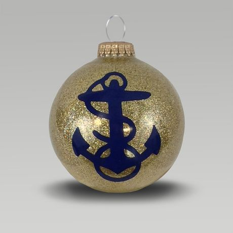 Navy Anchor Gold Sparkle Ornament