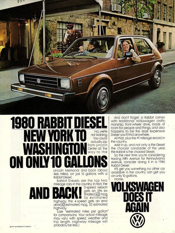 Vw Rabbit Car New York Ad Vintage Advertising Wall By