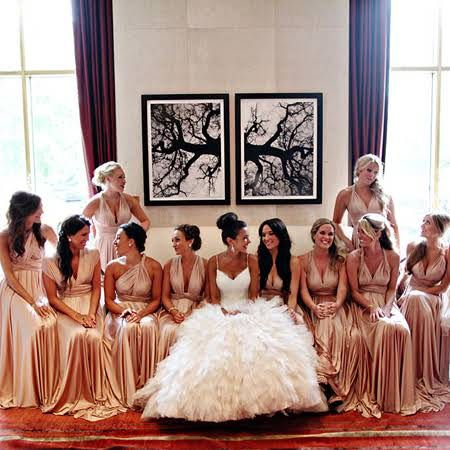 White and Gold Wedding. Gold Bridesmaid Dress. Soft and Romantic. twobirds long blush pink bridesmaid dresses