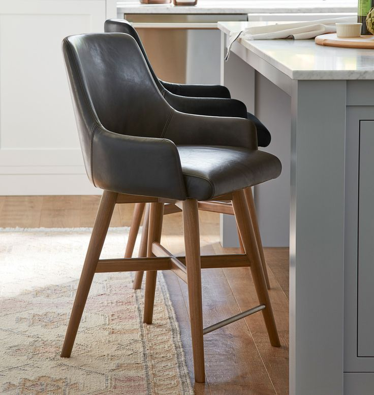 dexter swivel leather counter stool  leather counter