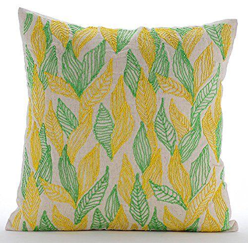 Designer Green Throw Pillows Cover, Multi Color Jute Leav... https://www.amazon.com/dp/B01645ZX6A/ref=cm_sw_r_pi_dp_x_aDkcybAQTN6DJ