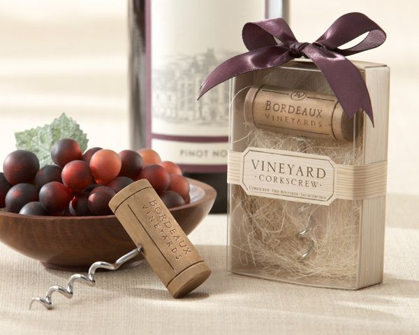 """""""Bordeaux Vineyards"""" Stainless-Steel Corkscrew  When wine or a beautiful grape vineyard is your inspiration, Kate Aspen has just the thing to get the party going and those juices flowing! Guests love taking home something stylish that they can use, and this corker of a corkscrew invites them to keep the celebration going at home.   #wine #wedding #favors"""
