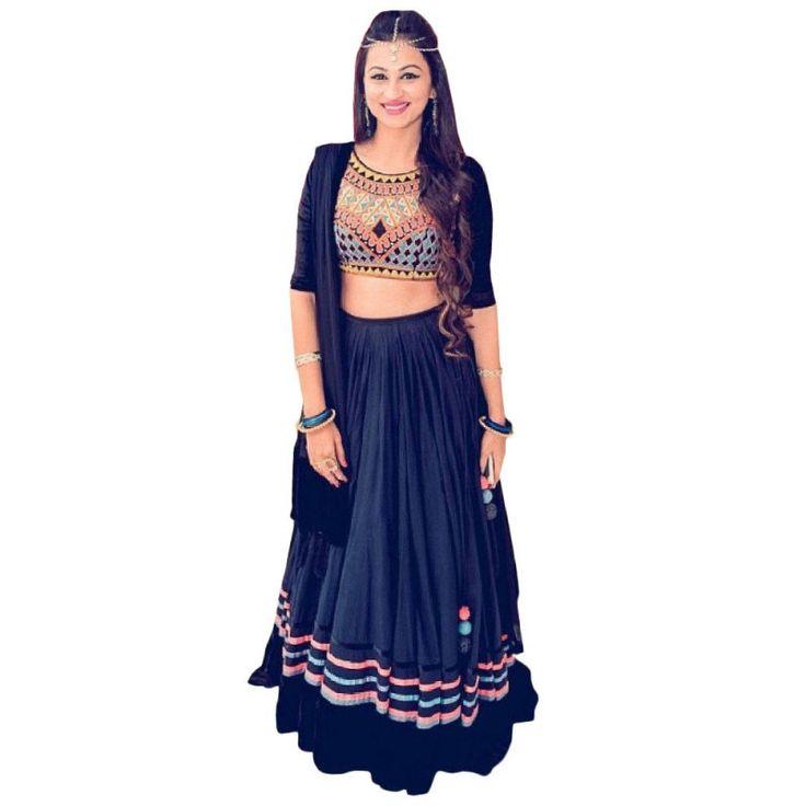 Georgette Blue Embroidered Designer Lehenga Set #womensfashion #lehengaset #ethnicoutfits