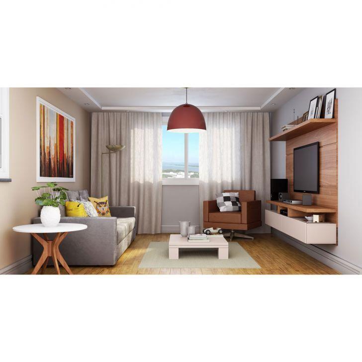 Painel para TV 60 Polegadas Zeus Natural e Off White 220 cm