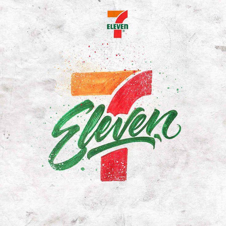 7 Eleven - Logotipos hechos con caligrafía