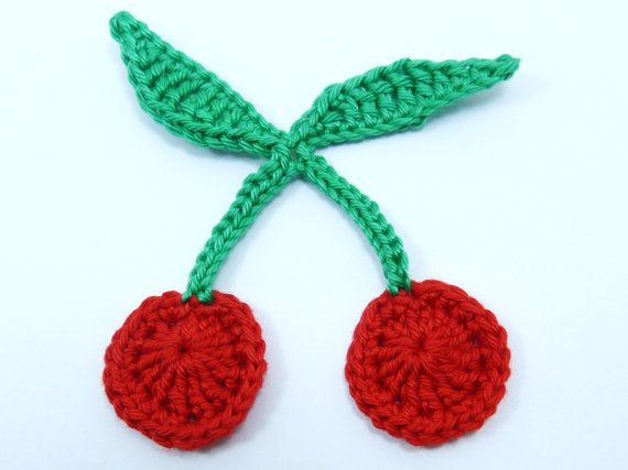 Crochet appliques 1 pair of large red crochet cherries