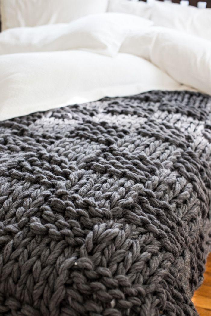jeté de lit, plaid pour lit tricoté en laine gris